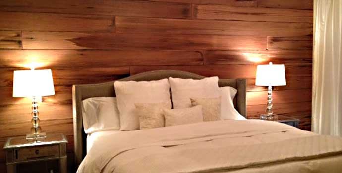 Unique reclaimed wood headboard