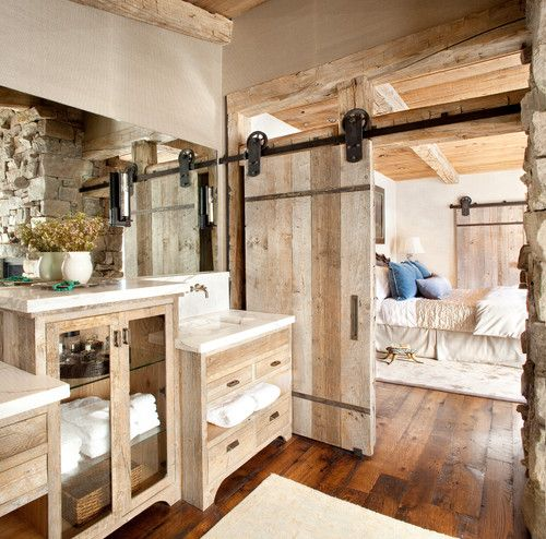 barn-door-master-bathroom & RE)NEW: How to Remodel A Bathroom with Reclaimed Wood pezcame.com